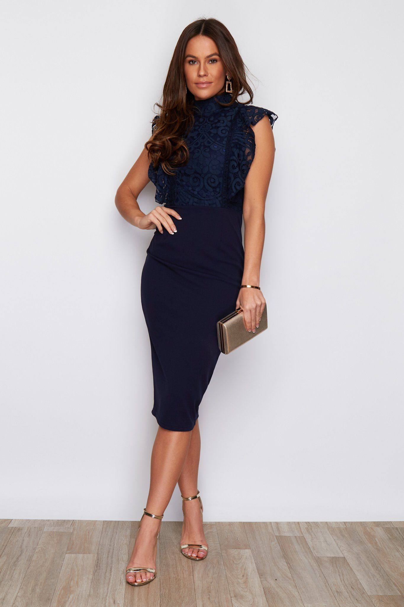 Danielle High Neck Frill Lace top Midi Dress Navy Dresses Girl In Mind