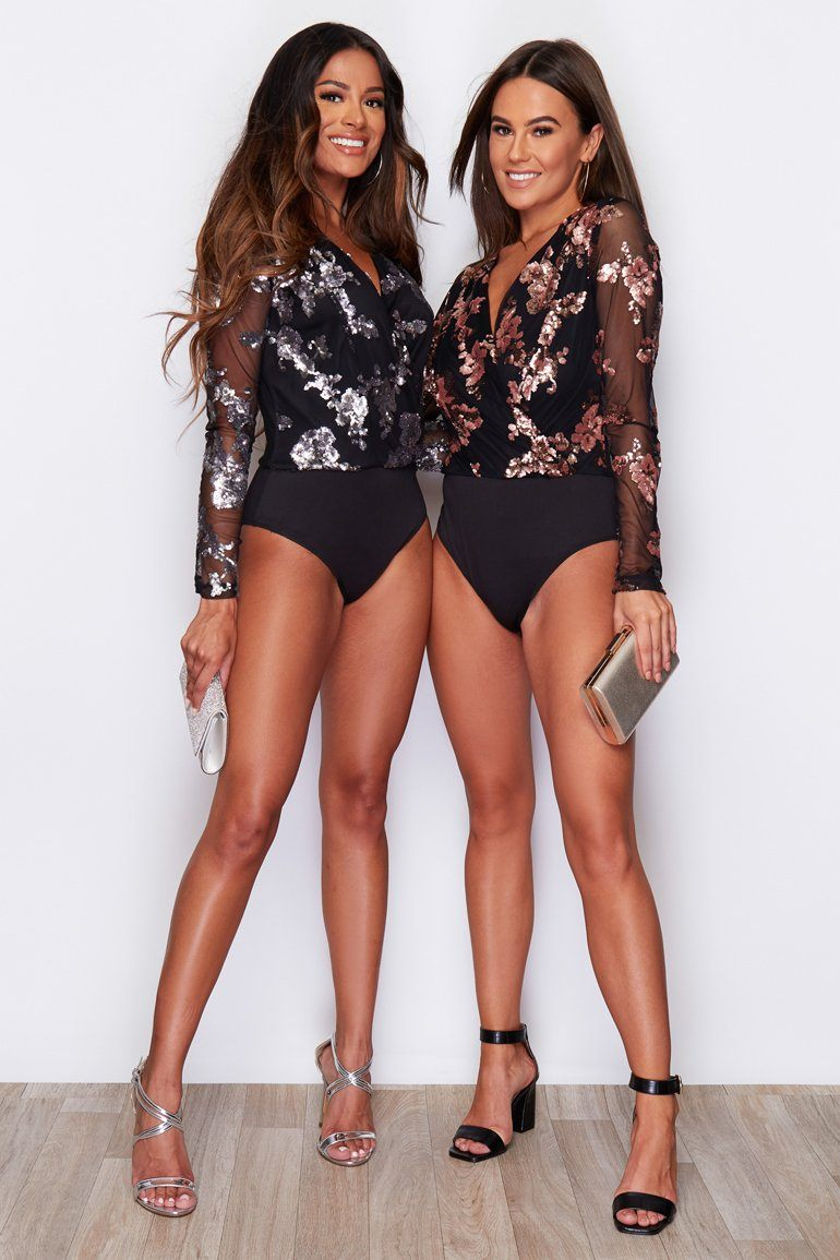 Eva Sequin Long Sleeve Bodysuit Black & Rose Gold Clothing Girl In Mind