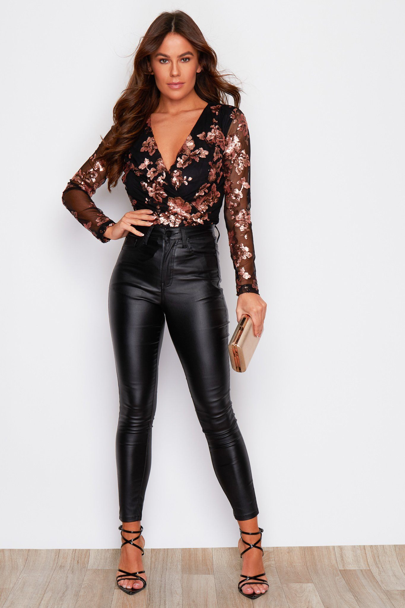 Eva Sequin Long Sleeve Bodysuit Black & Rose Gold Tops & Bodysuits Girl In Mind