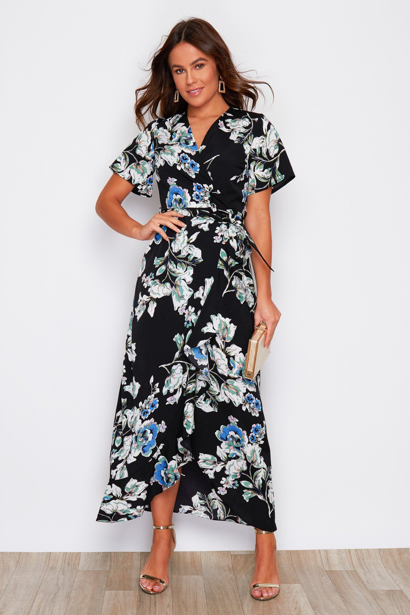 Farren Split Hem Frill Detail Wrap Maxi Dress Black Navy Print Dresses Girl In Mind