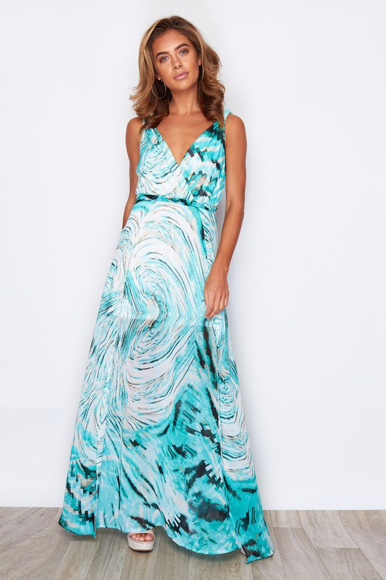 Hayley Twist Strap Side Split Wrap Chiffon Maxi Dress Aqua Print Dresses Girl In Mind