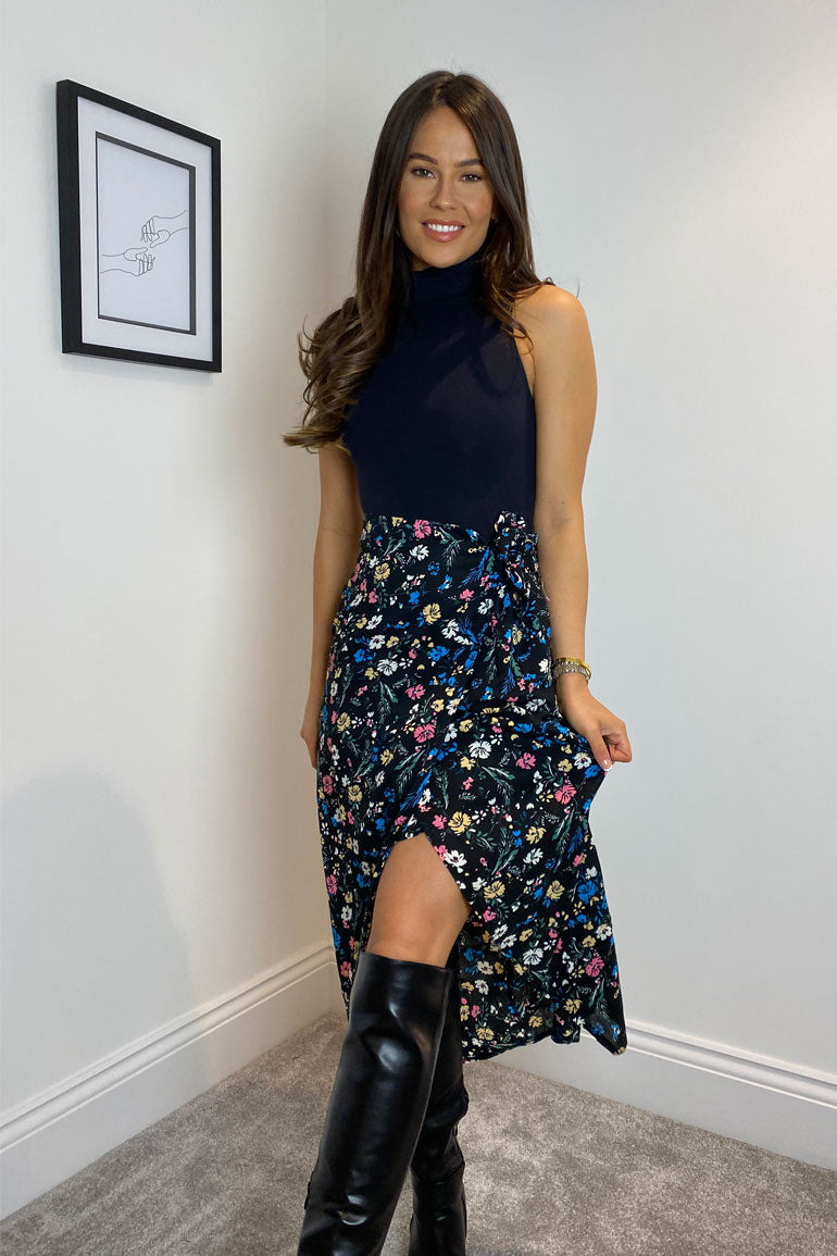 Elisa Side Wrap Midi Skirt Black Floral