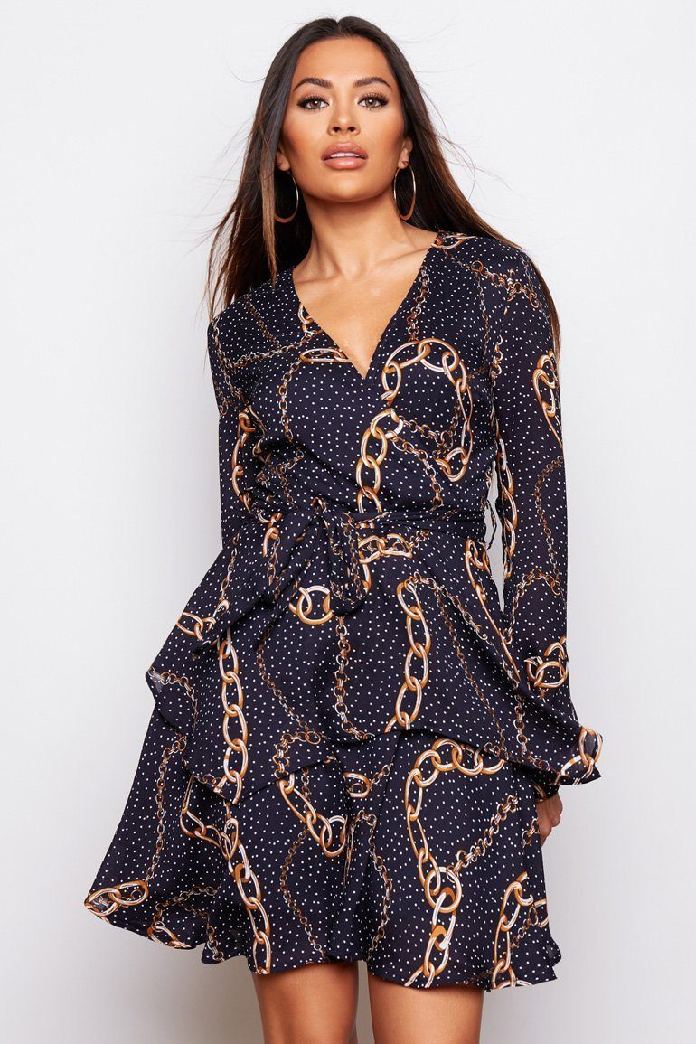 Kim Bell Sleeve Chiffon Mini Dress SI5963-Navy Chain Print Dresses Girl In Mind