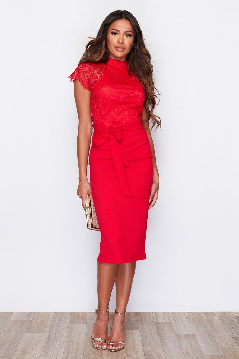 Lyla High Neck Lace Top Midi Dress SI4975-Red Dresses Girl In Mind