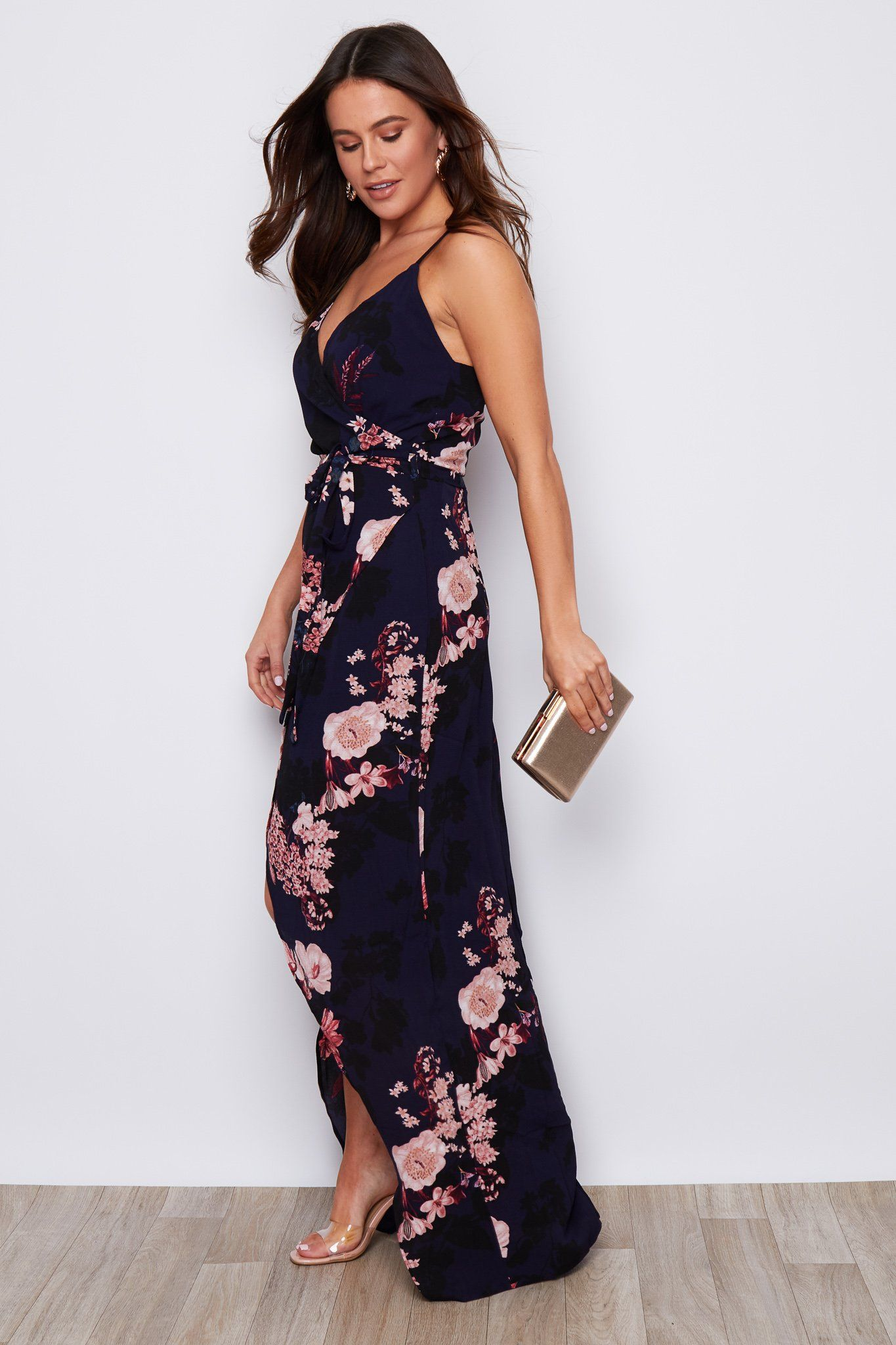 Mia Floral Wrap Maxi Dress Navy Dresses Girl In Mind