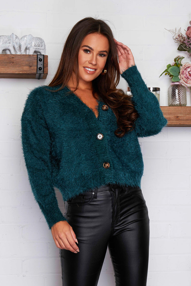 Aubrey Fluffy Cardigan Emerald Green