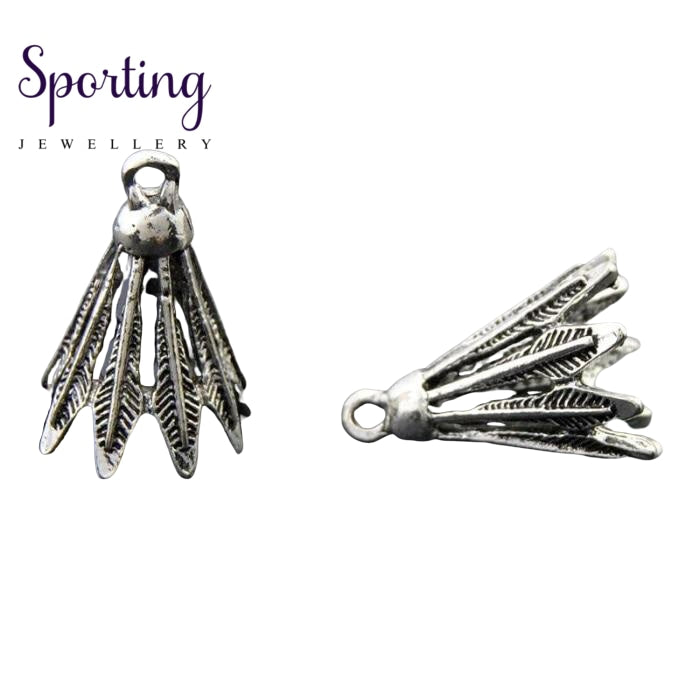 10Pcs Antique Silver Zinc Alloy 3D Badminton Charms Sports Pendant Diy