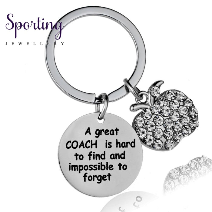 12Pc A Great Coach Is Hard To Find And Impossible Forget Keyrings Apple Crystal Rhinestone Pendant