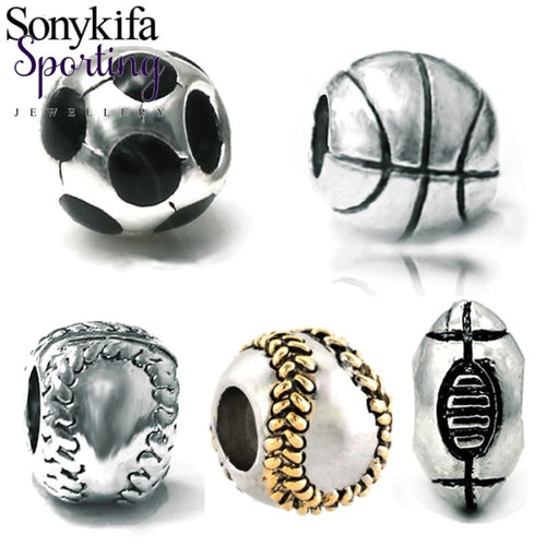 2Pcs New World Cup Football Basketball Rugby Diy Beads Suitable For Original Pandora Bracelet