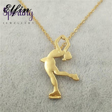 Load image into Gallery viewer, 4 Colors New Trendy Ice Skating Necklace Women Men Pendant Figure Jewellery Sport Gold-Color / 45Cm