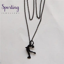 Load image into Gallery viewer, 4 Colors New Trendy Ice Skating Necklace Women Men Pendant Figure Jewellery Sport Matte Black / 45Cm