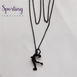 4 Colors New Trendy Ice Skating Necklace Women Men Pendant Figure Jewellery Sport Matte Black / 45Cm