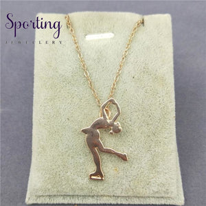 4 Colors New Trendy Ice Skating Necklace Women Men Pendant Figure Jewellery Sport Rose Gold Color /