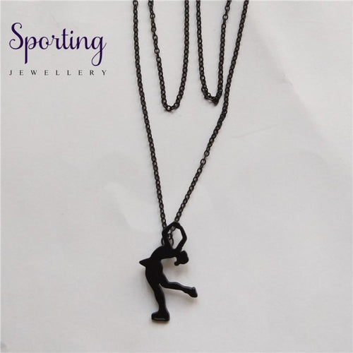 4 Colors New Trendy Ice Skating Necklace Women Men Pendant Figure Jewellery Sport