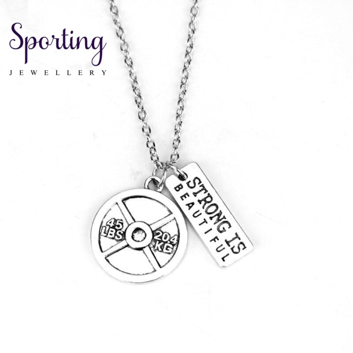 45Lbs 20.4Kg Weight Plate Strength Is Beautiful Inspirational Quote Necklaces Fashion Weightlifting