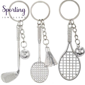 Antique Bronze Silver Metal Badminton Racket Keychain Trendy Cute Mini For Woman Man Car Sports Key