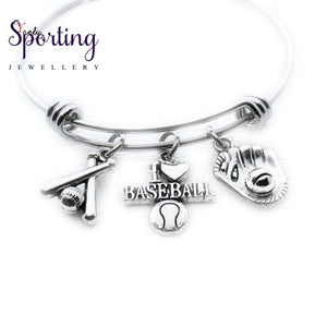 Baseball Bracelet Charm Bangle Coach Gift Jewelry Idea Sports Lover