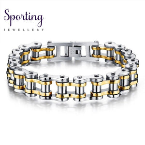 Bike Bicycle Chain Link Mens Bracelet Biker 316L Stainless Steel Fashion Sports Jewelry Casual