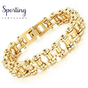 Biker 316L Stainless Steel Mens Bracelet Fashion Sports Jewelry Bike Bicycle Chain Link Casual