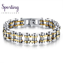 Load image into Gallery viewer, Biker 316L Stainless Steel Mens Bracelet Fashion Sports Jewelry Bike Bicycle Chain Link Casual