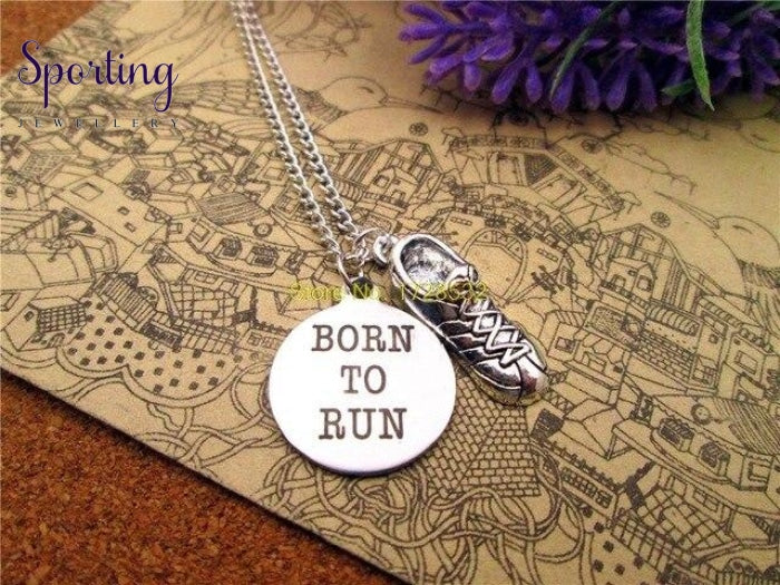 Born To Run With Running Shoes Charm Pendant 1
