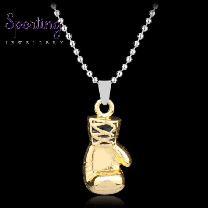 Boxer Boxing Glove Pendant Necklace Gold