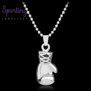 Boxer Boxing Glove Pendant Necklace Sliver