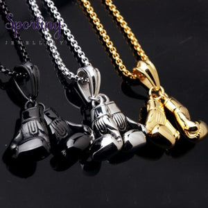 Boxing Glove Pendant Necklace Steel Color