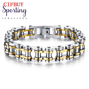 Cifbuy Biker 316L Stainless Steel Mens Bracelet Fashion Sports Jewelry Bike Bicycle Chain Link