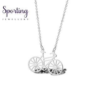 Dainty Minimalist Bike Necklace Pendant Sports Jewelry Gold Bicycle Cyclist Jewellery In Stainless