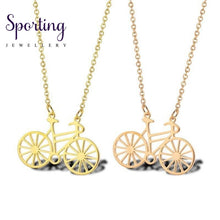 Load image into Gallery viewer, Dainty Minimalist Bike Necklace Pendant Sports Jewelry Gold Bicycle Cyclist Jewellery In Stainless