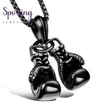 Load image into Gallery viewer, Double Boxing Glove Pendant Black