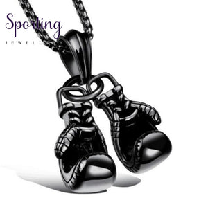 Double Boxing Glove Pendant Black