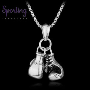 Double Boxing Glove Pendant Silver