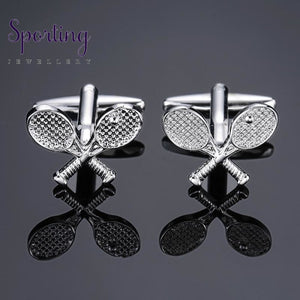 Dy The New High Quality Brass Silver Badminton Racket Cufflinks Mens French Shirt Free Shipping