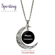Load image into Gallery viewer, Ej Glaze Silver Color Glass Cabochon With Hollow Out Moon Shaped Pendant Choker Necklace For Men