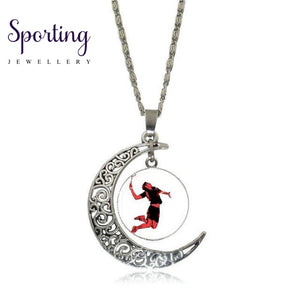 Ej Glaze Silver Color Glass Cabochon With Hollow Out Moon Shaped Pendant Choker Necklace For Men