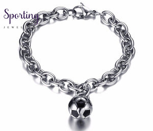 Fashion Mens Chain Bracelet With Petite Soccer Ball Charm Stainless Steel Football Sports Jewelry