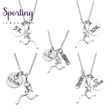 Load image into Gallery viewer, Fashion Runner Marathon 13.1 26.2 5K 10 K Charms Necklaces Heart Running Girl Figure Pendant