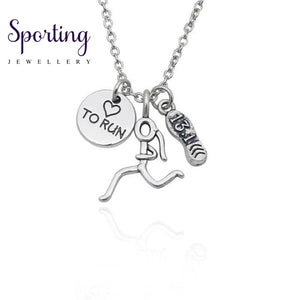 Fashion Runner Marathon 13.1 26.2 5K 10 K Charms Necklaces Heart Running Girl Figure Pendant