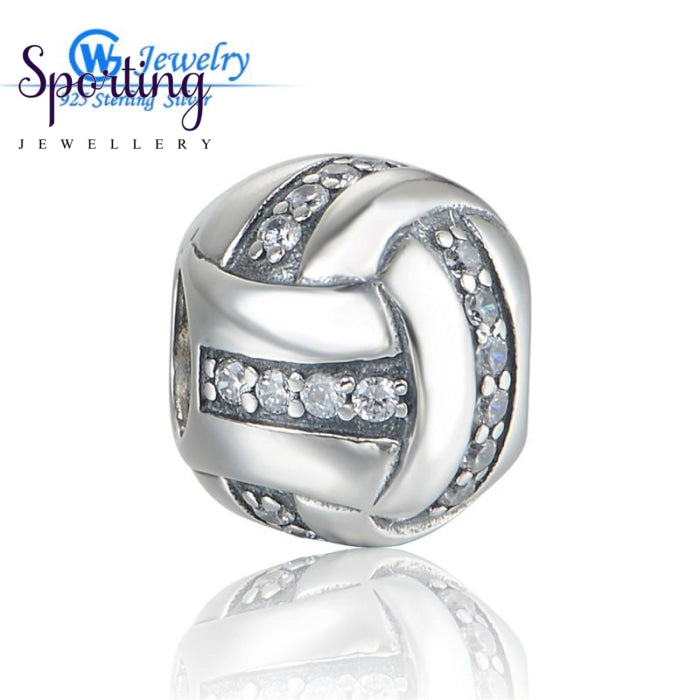 Fashion Sports Charms Authentic Stylish Bead Silver 925 Cz Crystal Charm Fit Snake Chain Gw