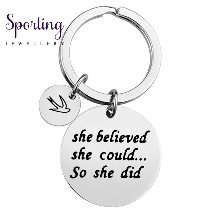 Gelicity Stainless Steel Keychain She Believed She Could So Did Key Ring Couple Gift For Coach Women