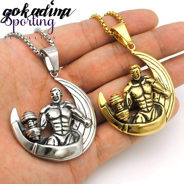 Gokadima Hiphop Sport Muscle Weightlifting Man Pendants Half Moon Necklace Stainless Steel High