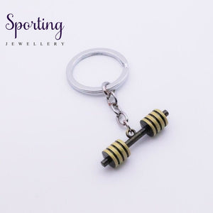 Hot Fashion Accessorie Keychain Dumbbell Discus Barbell Key Ring Fitness Charm Chain Designer Gift
