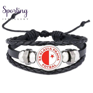 Hot Leather Bracelet Football Club Logo Bangle Barcelona Real Madrid Glass Cabochon Team For Fan