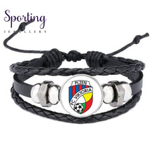 Load image into Gallery viewer, Hot Leather Bracelet Football Club Logo Bangle Barcelona Real Madrid Glass Cabochon Team For Fan