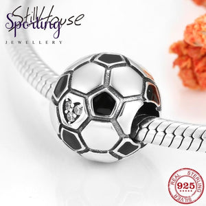 Hot Sale Delicate Mini Football Beads Charms 925 Sterling Silver Fine Bead Fit Original Pandora