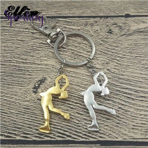Ice Skating Key Chains Women Men Keychains Silver Gold Color