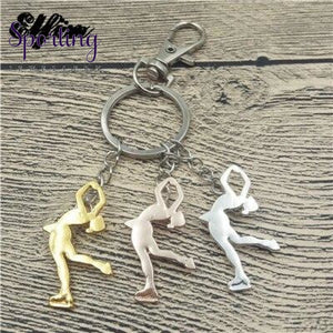 Ice Skating Key Chains Women Men Keychains Silver Rose Gold 2