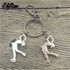 Ice Skating Key Chains Women Men Keychains Silver Rose Gold